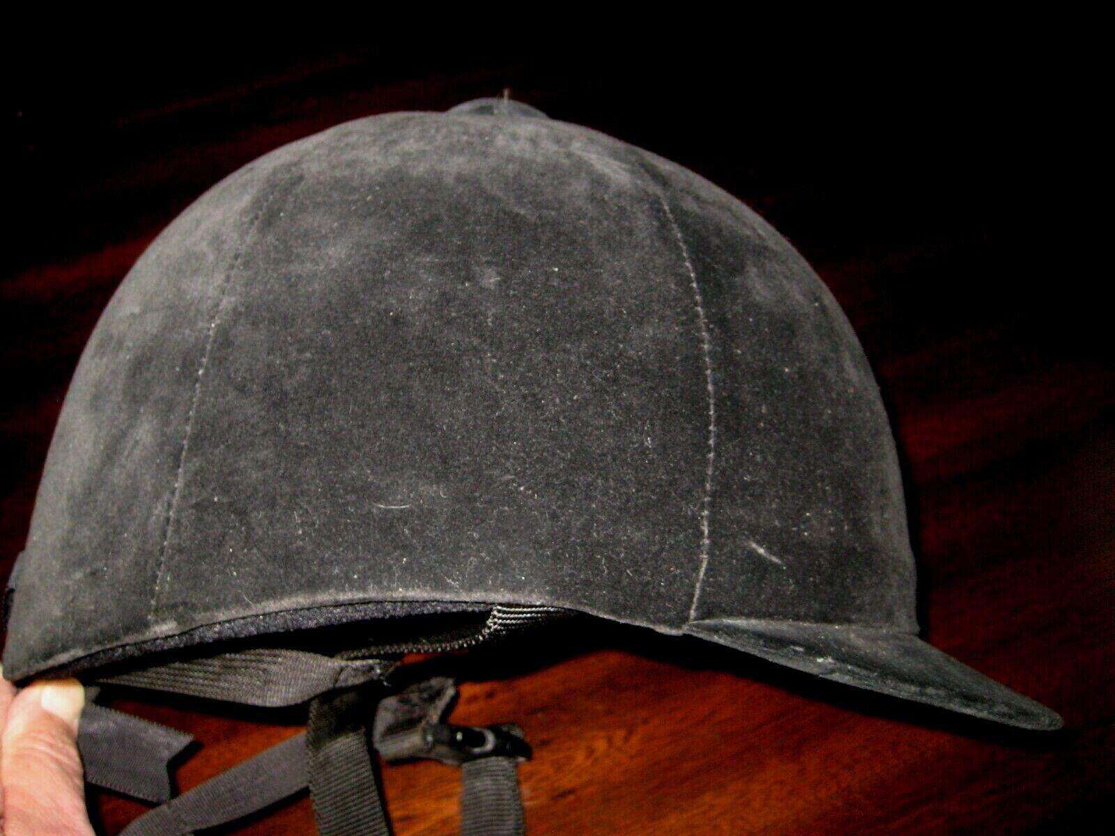 Rara de 4 jinetes ecuestre  equitación casco de fieltro negro Talla 7 1 2 - 61-Usado En Excelente Condición  para barato