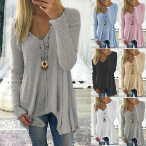 Womens-V-Neck-Long-Sleeve-Pullover-Blouse-Tops-Ladies-Irregular-T-Shirt-Jumpers