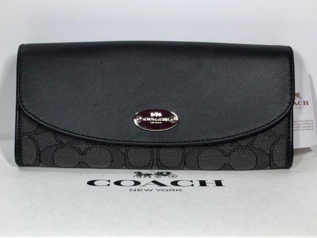 huge discount 85e70 37209 Coach F53538 Outline Signature Slim Envelope Wallet Black Smoke