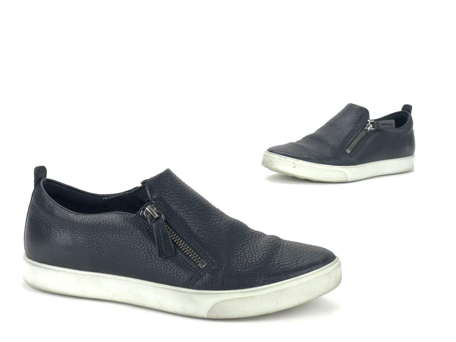 Ecco Gillian Black Leather Side Zip Slip On Sneaker Women's Size EU 39/ US 8