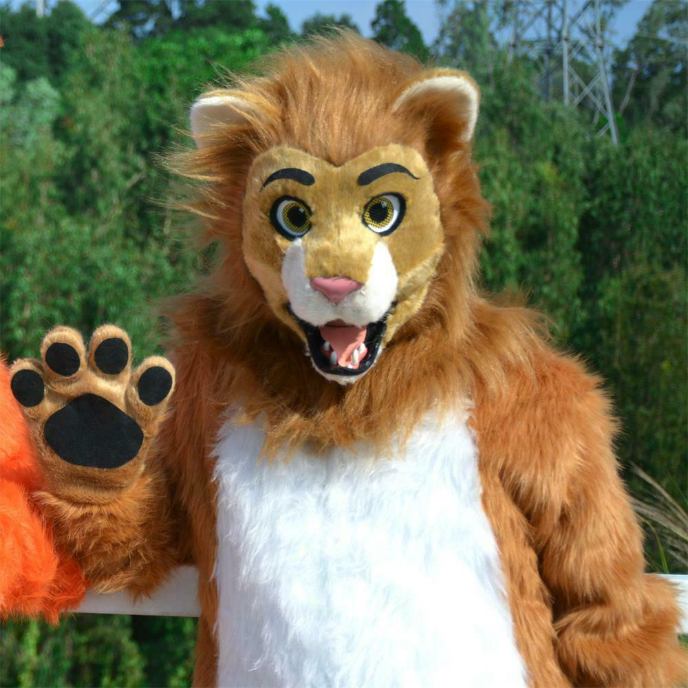 Lion Mascot Costume Fursuit Cosplay Animal Halloween Party ...