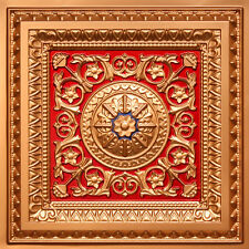 # 223 -  Gold/Red/Blue 2' x 2' PVC Decorative Ceiling Tile Grid/ Drop In