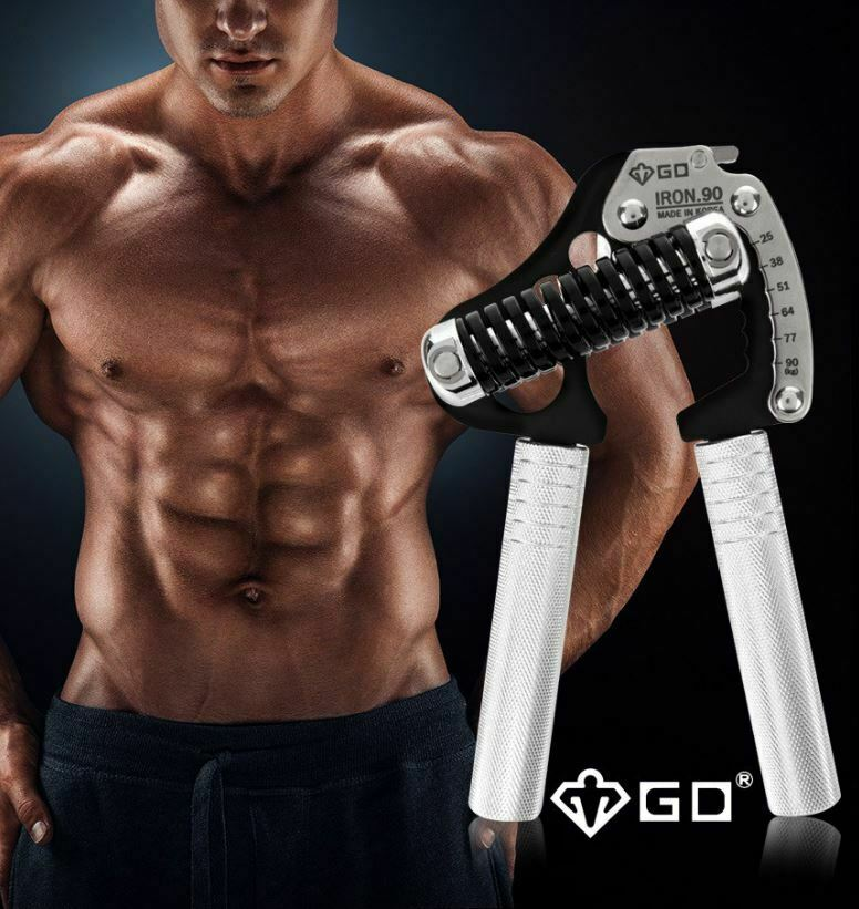 GD Iron Grip ext P 90 25  90 kg 6-niveaux Hand Gripper + Extra Poignée & Pince Grip