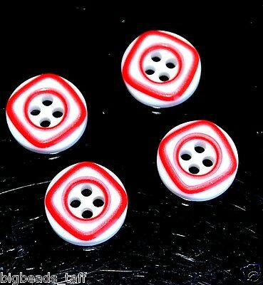 100pcs 4 holes resin  white + red lines round buttons 12mm