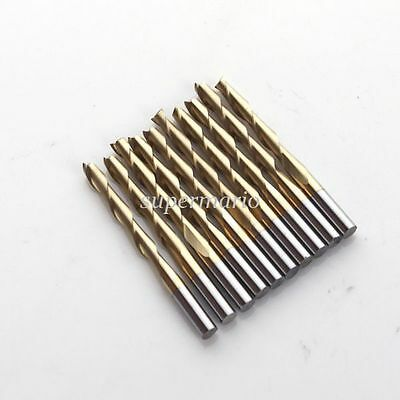 10x 1/8'' Titanium Nitride Coated Carbide CNC Double Two Flute Router Bits 22mm