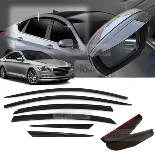 Smoke Window Vent Visor For HYUNDAI 14-16 Genesis Sedan Side Mirror Rain Guard