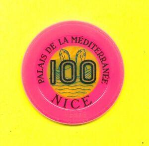 Palais-de-la-Mediterranee-Casino-100-Frs-Jeton-Plaque-Nice-Alpes-Cote-d-039-Azur-Fr
