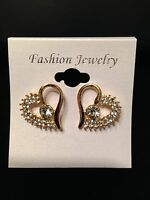 Fashion Jewerly Sparkling Gold Crystal Rhinestone Heart Shape Stud Earring