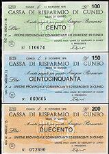CASSA DI RISPARMIO DI CUNEO 31/12/1976 UNIONE PROV.COMM.ESERC.CUNEO 3 PZ