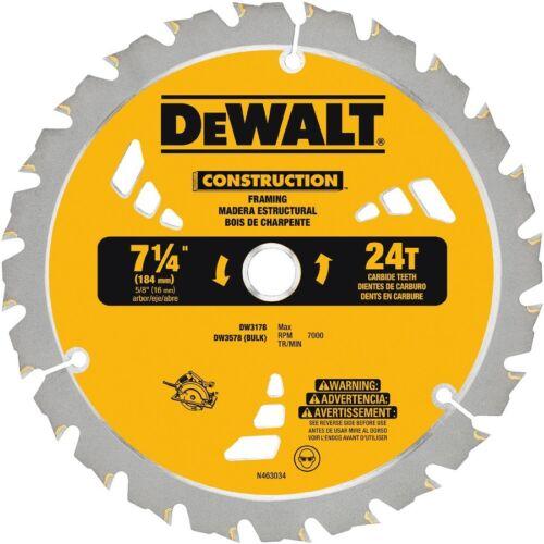 DeWalt Construction 7-1//4In Carbide Framing Circular Saw Blade DW3178 DW3578 10