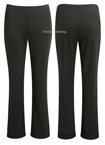 Womens Bootleg Trousers Stretchy Pull On Work Bottoms Ribbed Hipsters Pants 8-35
