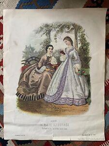 "La Mode Illustree 1862 No. 223 Paris Ladies Women Fashion Vtg Print 14"" x 18"""