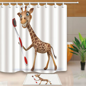 Shower Curtains Africa Prairie and Red Sky Giraffe Bathroom Fabric Shower Curtain Set 71Inches Garden Curtains