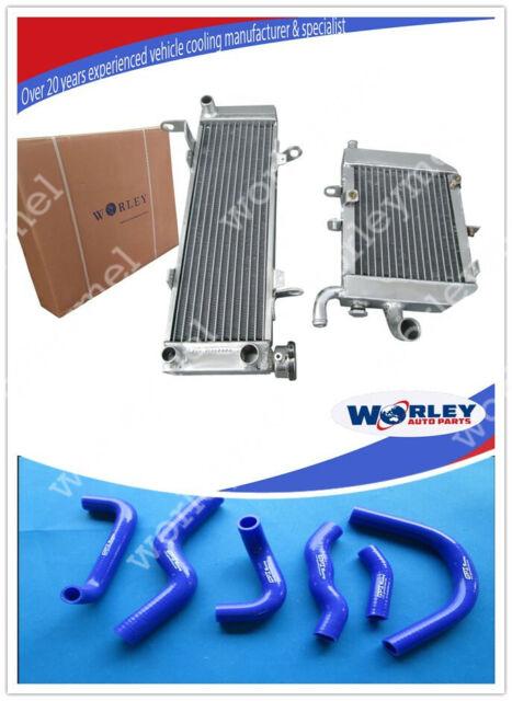 ALUMINUM RADIATOR + BLUE SILICONE HOSE for HONDA RVF400 NC35 or NC30 VFR400