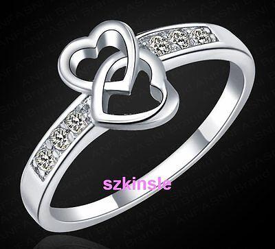 NEW Fashion 925 Sterling Silver women HEART Wedding Beautiful Crystal Ring J328