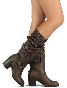 72a635755a7 Wild Diva Taupe Sweater Shaft Chunky Heel Buckled Knee-high Boots ...