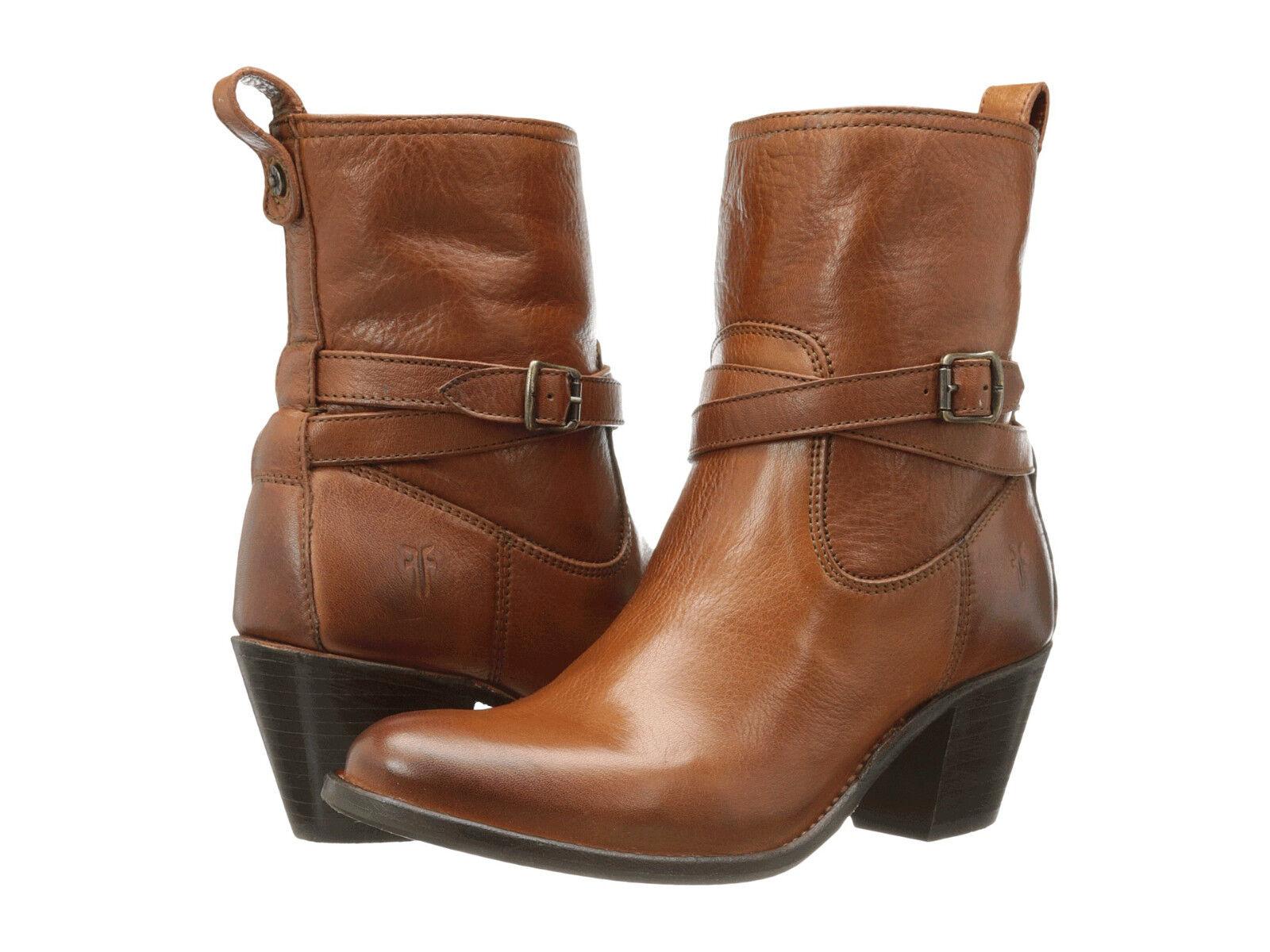 Women's Frye Boots Jackie Rivet Short ZipOn Tan Whiskey Leather 76291 WHS