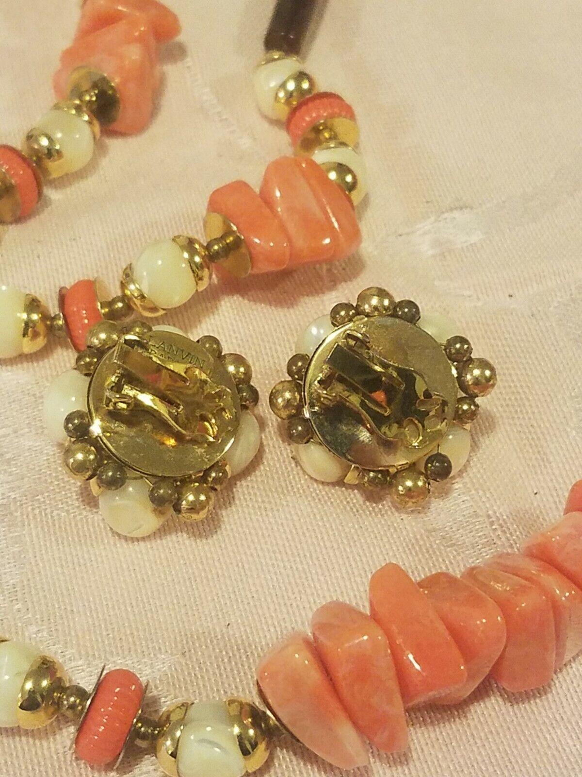 Vintage Lanvin Paris Modernist Necklace & Earrin… - image 3
