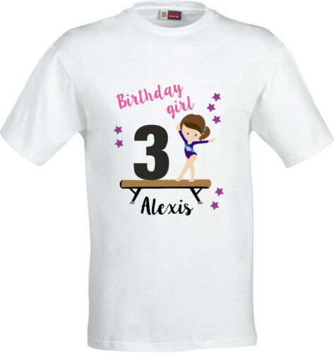 Personalised Gymnastic Birthday girl Childs Sublimation T shirt