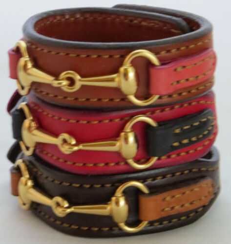 Equestrian Bit Bracelet Red Black Leather Gold Snaffle Horse Handcrafted USA