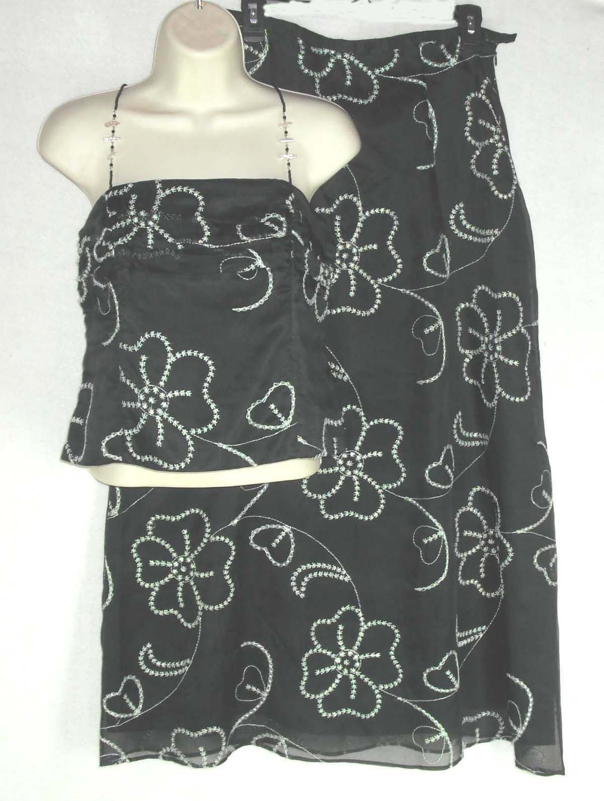 JULIANA COLLEZIONE dress 2 pc top skirt NEW sz 6 NWT100% Silk Embroidered Floral