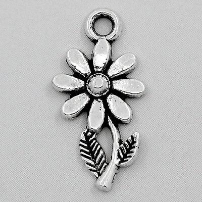 Großverkauf Antik Silber Sonnenblume Charms Anhänger für Armband Kette 19x10mm