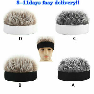 Men Women Novelty Beanie Hat with Spiked Fake Hair Funny Short Wig Cap HOT