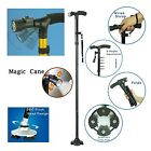 Handle Folding Cane With LED Lights Black Walking Stick Pivot Base Reliable