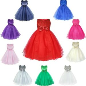 Flower-Girl-Tutu-Dress-Kids-Sequins-Princess-Party-Wedding-Bridesmaid-Bow-Gown