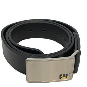 CAT-caterpillar-black-leather-cow-hide-adjustable-belt-mens-size-32