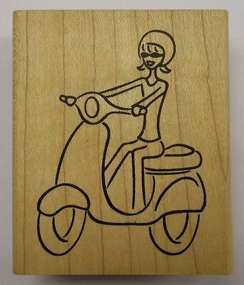 Mimi riding Scooter Rubber Stamp - Wood Mounted