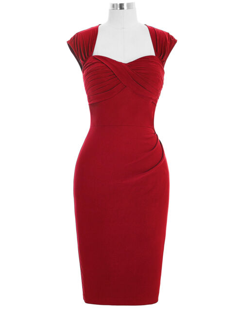 Womens 50'S 40s Vintage Style Pencil Wiggle Pin-up Peplum Housewife Midi Dress