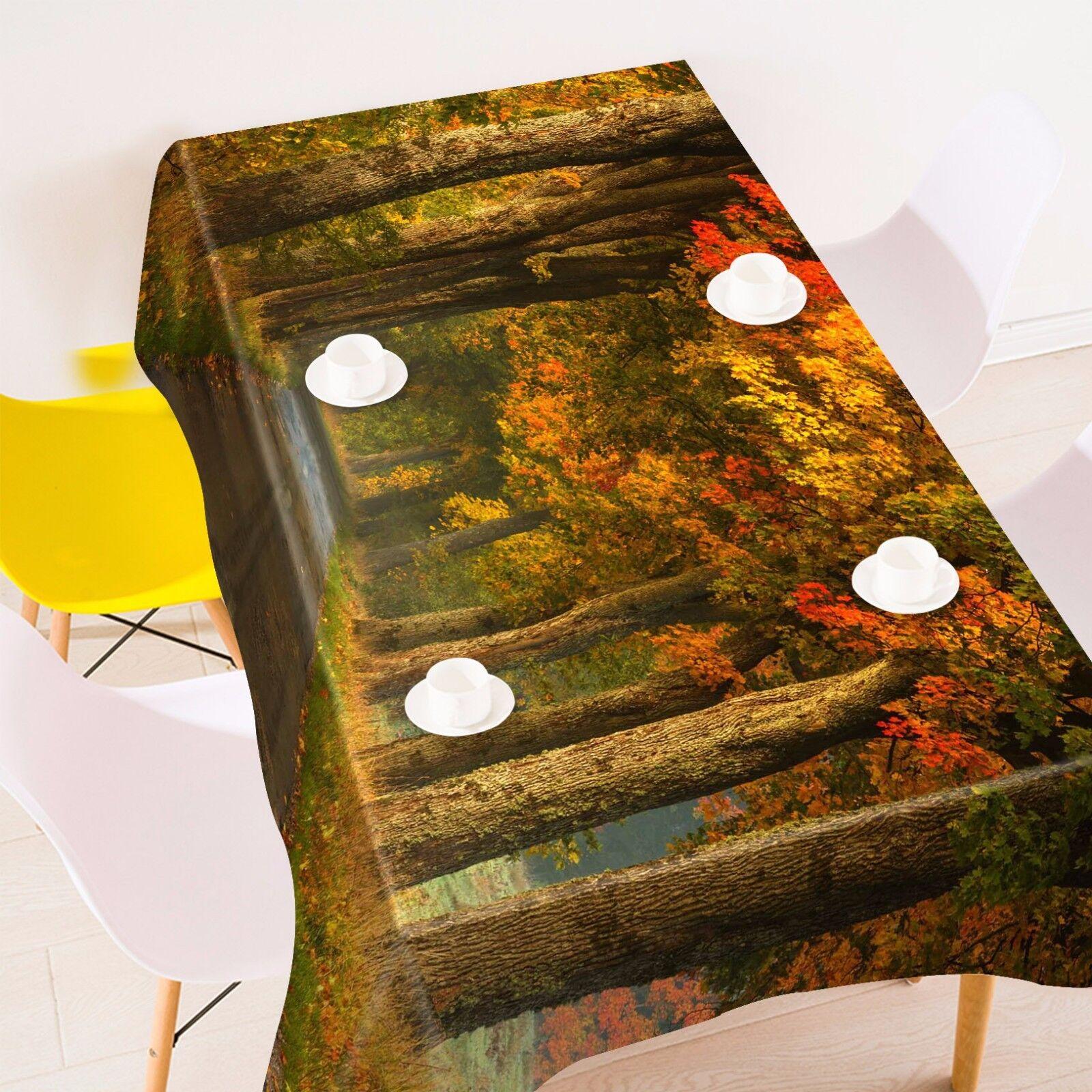 3D Forest 47 Nappe Table Cover Cloth fête d'anniversaire AJ papier peint Royaume-Uni Citron