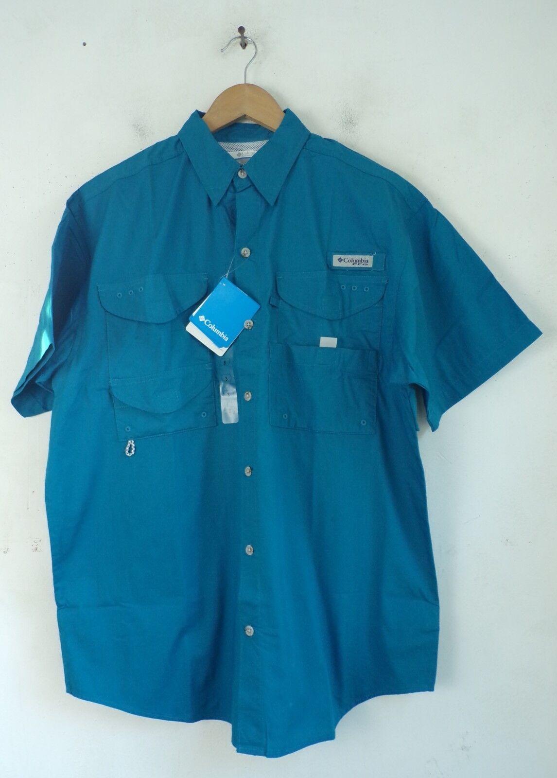 NWT COLUMBIA Mens Small Teal Performance Fishing Gear Short Sleeve Shirt