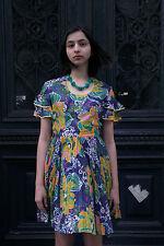 Damen Kleid Plisseekleid 70er True VINTAGE woman  flower Plissee dress Gr. 38