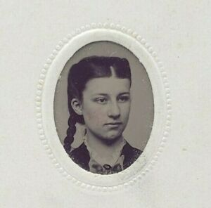 Antique-Victorian-Tintype-Photograph-Miniature-Hand-Painted-Blush-Lady