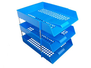 6x-Stackable-Filing-Letter-Trays-BLUE-Risers-Rods-In-Out-A4-Storage-Desk-Tidy