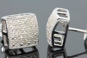 .20 CARAT WHITE GOLD FINISH MENS WOMENS 9mm 100% REAL DIAMONDS EARRINGS STUDS