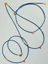 Afghan Natural Lapis, Ruby Pendant, Garnet & Pearl Necklace Tiny Seed Beads Boho
