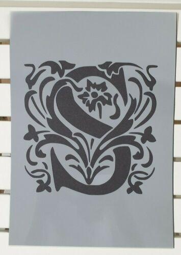 Beautiful Alphabet Letter S Stencil MYLAR A4 sheet strong reusable Craft ArtDeco