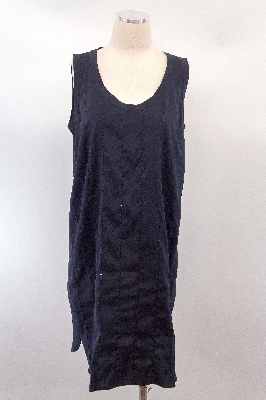 NWT Brunello Cucinelli Soft Silk Sparkly Sequined Long Tank Dress Sz L A176