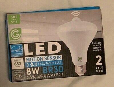 Greenlite LED Motion Sensor 8W Flood Light Bulbs Automatic On//Off BR30 2 Pack