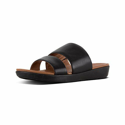 7ff5c3f88 FitFlop Delta Slide Double Strap Slip on Flat Sandals 473 Black 8 US ...