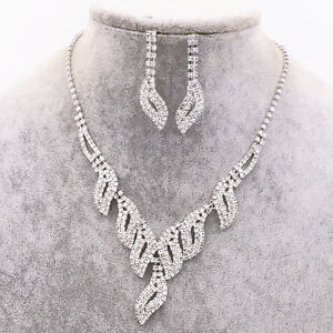 Image Is Loading Uk Silver Wedding Bride Crystal Diamond Necklace Earrings