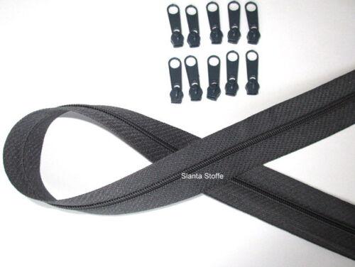 Meterware 15 Schieber//Zipper 33 Farben 5m Reißverschluss endlos Spirale 3mm