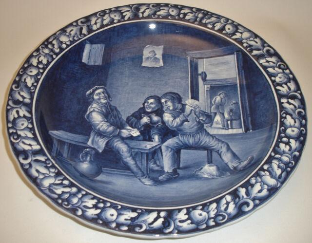 Villeroy & Boch Mettlach Wandteller Delft Delfter Keramik um 1900 David Teniers