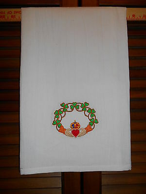 Embroidered Flour Sack Towel CLADDAGH, Irish, St Patrick's Day, Celtic, Shamrock