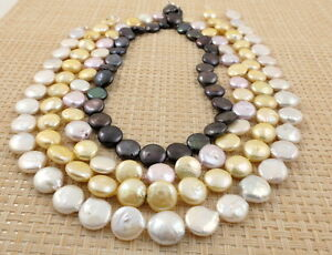 Fine-Freshwater-Coin-Pearl-Necklace-amp-Sterling-Silver-Clasp-Mixed-Colour-Lengths