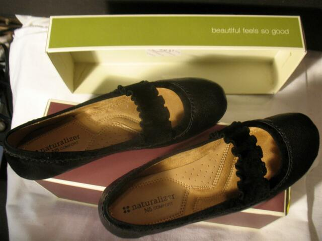 Naturalizer N5 Leather Comfort Womens Shoes Cantara Size 6.5 M Black Loafer Flat