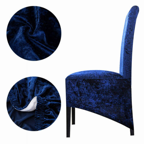 Crushed Velvet Seat Covers Long back Dining Chairs Chair Protective Slipcover